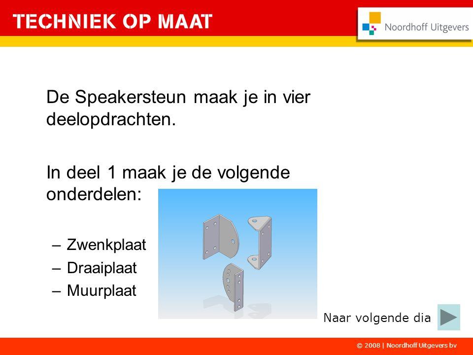© 2008 | Noordhoff Uitgevers bv De Speakersteun maak je in vier deelopdrachten. In deel 1 maak je de volgende onderdelen: –Zwenkplaat –Draaiplaat –Muu