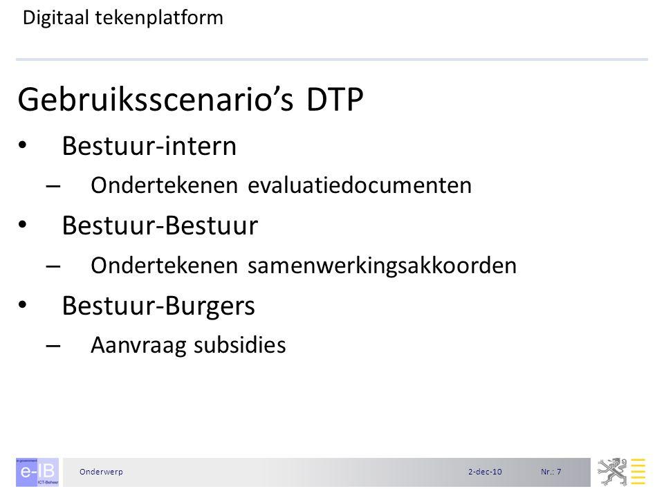 Nr.: 82-dec-10Onderwerp Digitaal tekenplatform DTP-demo Gebruik van DTP-mail Ondertekenen vormingsaanvraag door meerdere partijen Validatie handtekeningen