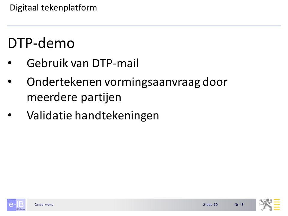 Nr.: 82-dec-10Onderwerp Digitaal tekenplatform DTP-demo Gebruik van DTP-mail Ondertekenen vormingsaanvraag door meerdere partijen Validatie handtekeni