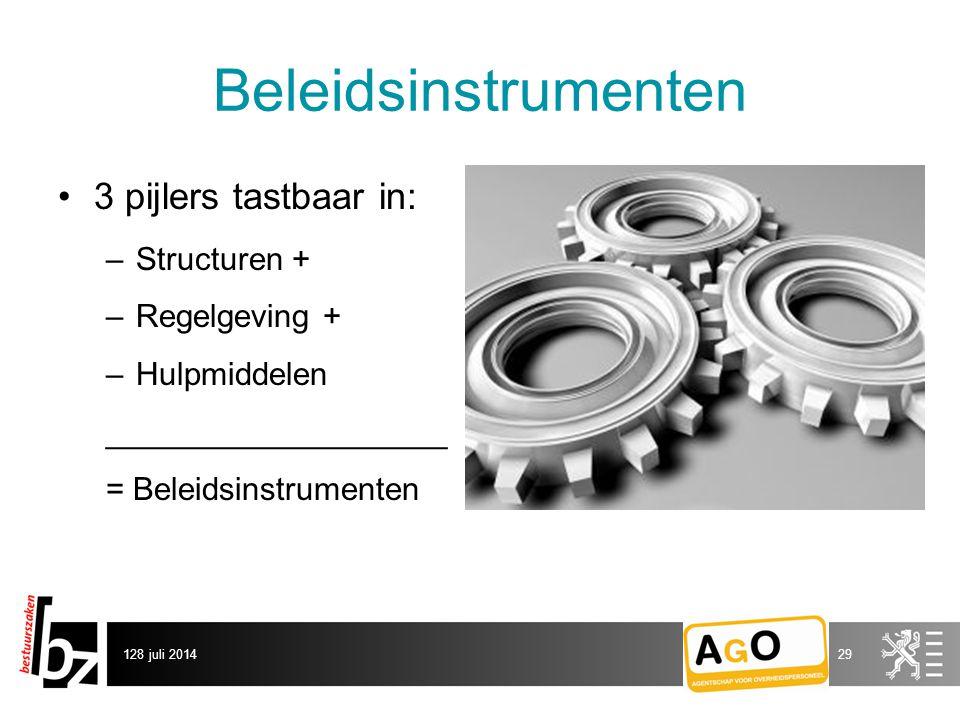 Beleidsinstrumenten 3 pijlers tastbaar in: –Structuren + –Regelgeving + –Hulpmiddelen ___________________ = Beleidsinstrumenten 128 juli 201429