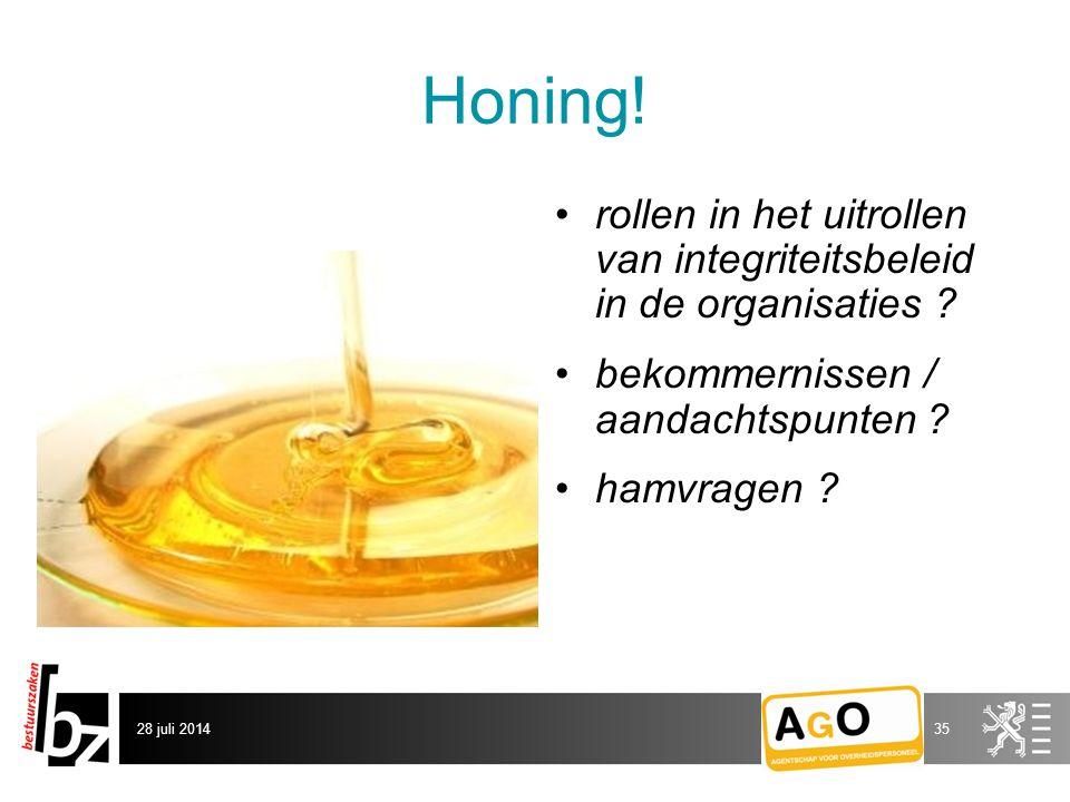 Honing.rollen in het uitrollen van integriteitsbeleid in de organisaties .