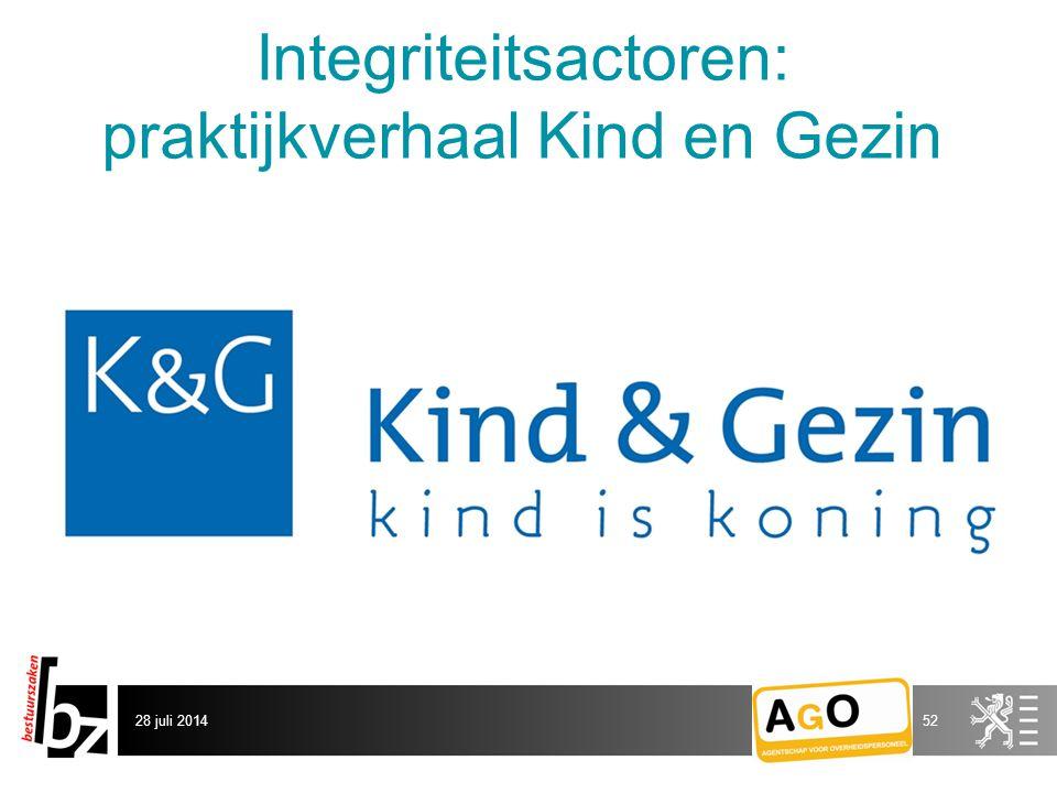 Integriteitsactoren: praktijkverhaal Kind en Gezin 28 juli 201452