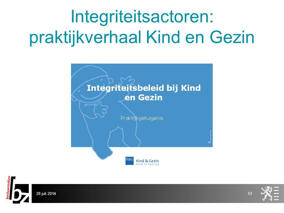Integriteitsactoren: praktijkverhaal Kind en Gezin 28 juli 201453