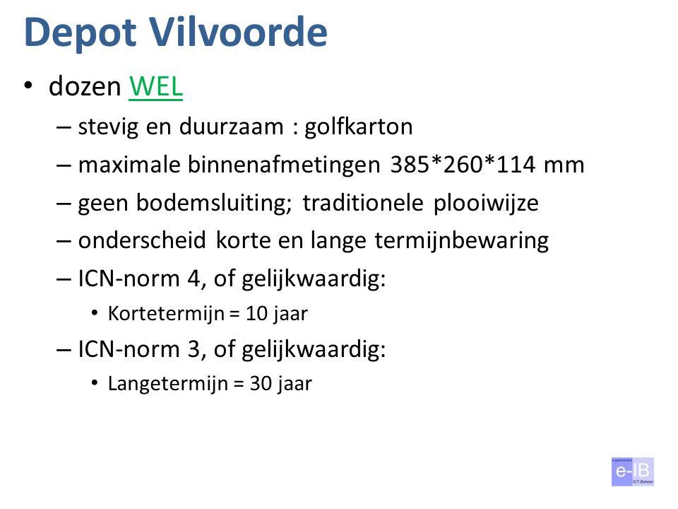 Depot Vilvoorde dozen WEL – stevig en duurzaam : golfkarton – maximale binnenafmetingen 385*260*114 mm – geen bodemsluiting; traditionele plooiwijze –