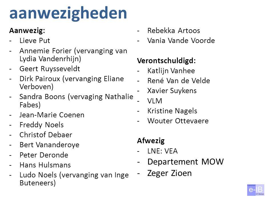 aanwezigheden Aanwezig: -Lieve Put -Annemie Forier (vervanging van Lydia Vandenrhijn) -Geert Ruysseveldt -Dirk Pairoux (vervanging Eliane Verboven) -S