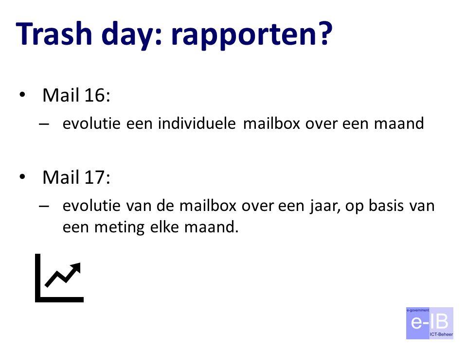 Trash day: rapporten? Mail 16: – evolutie een individuele mailbox over een maand Mail 17: – evolutie van de mailbox over een jaar, op basis van een me
