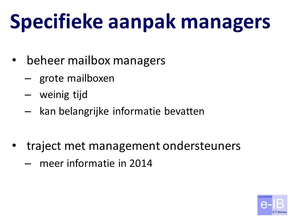 Specifieke aanpak managers beheer mailbox managers – grote mailboxen – weinig tijd – kan belangrijke informatie bevatten traject met management ondersteuners – meer informatie in 2014