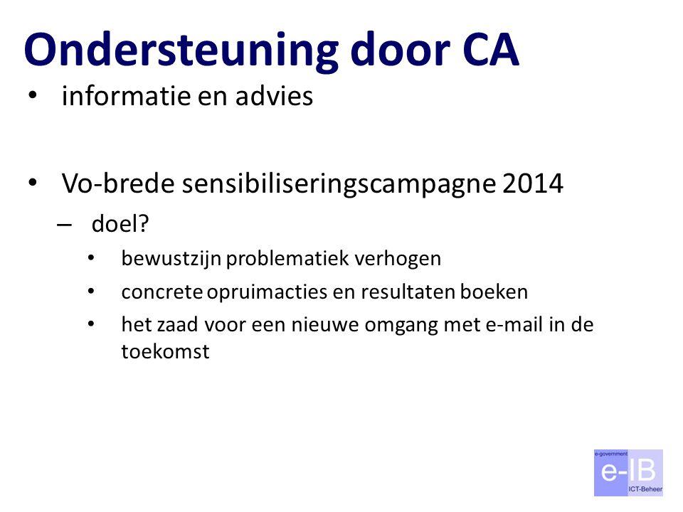 Ondersteuning door CA informatie en advies Vo-brede sensibiliseringscampagne 2014 – doel? bewustzijn problematiek verhogen concrete opruimacties en re