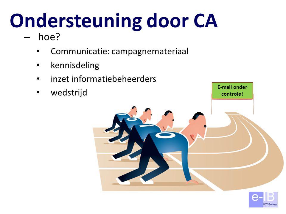 Ondersteuning door CA – hoe? Communicatie: campagnemateriaal kennisdeling inzet informatiebeheerders wedstrijd E-mail onder controle!