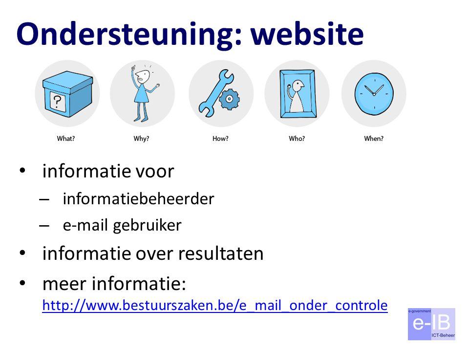 Ondersteuning: website informatie voor – informatiebeheerder – e-mail gebruiker informatie over resultaten meer informatie: http://www.bestuurszaken.be/e_mail_onder_controle http://www.bestuurszaken.be/e_mail_onder_controle