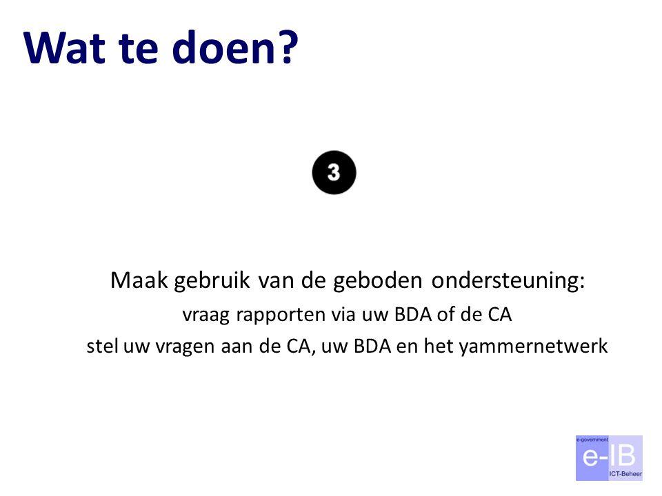 Wat te doen? Maak gebruik van de geboden ondersteuning: vraag rapporten via uw BDA of de CA stel uw vragen aan de CA, uw BDA en het yammernetwerk