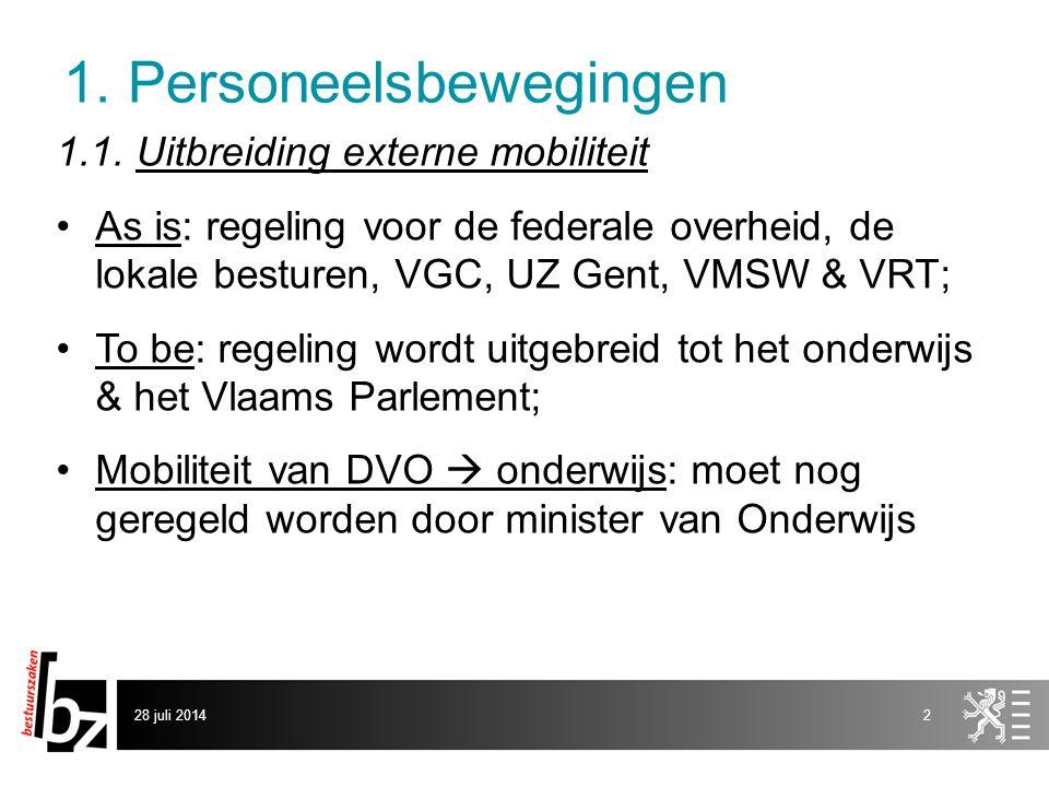 1. Personeelsbewegingen 1.1. Uitbreiding externe mobiliteit As is: regeling voor de federale overheid, de lokale besturen, VGC, UZ Gent, VMSW & VRT; T