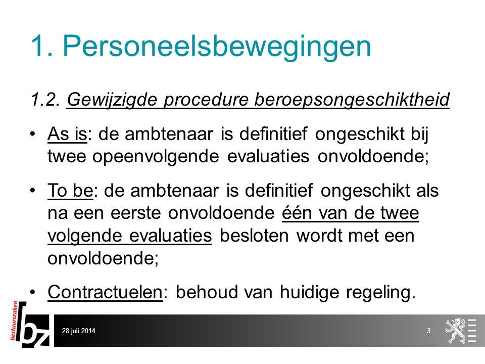 1. Personeelsbewegingen 1.2. Gewijzigde procedure beroepsongeschiktheid As is: de ambtenaar is definitief ongeschikt bij twee opeenvolgende evaluaties