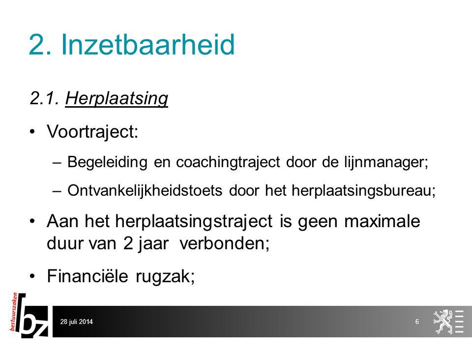 2. Inzetbaarheid 2.1. Herplaatsing Voortraject: –Begeleiding en coachingtraject door de lijnmanager; –Ontvankelijkheidstoets door het herplaatsingsbur