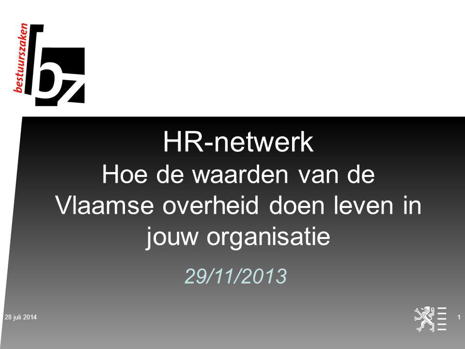HR-netwerk Hoe de waarden van de Vlaamse overheid doen leven in jouw organisatie 29/11/2013 28 juli 20141