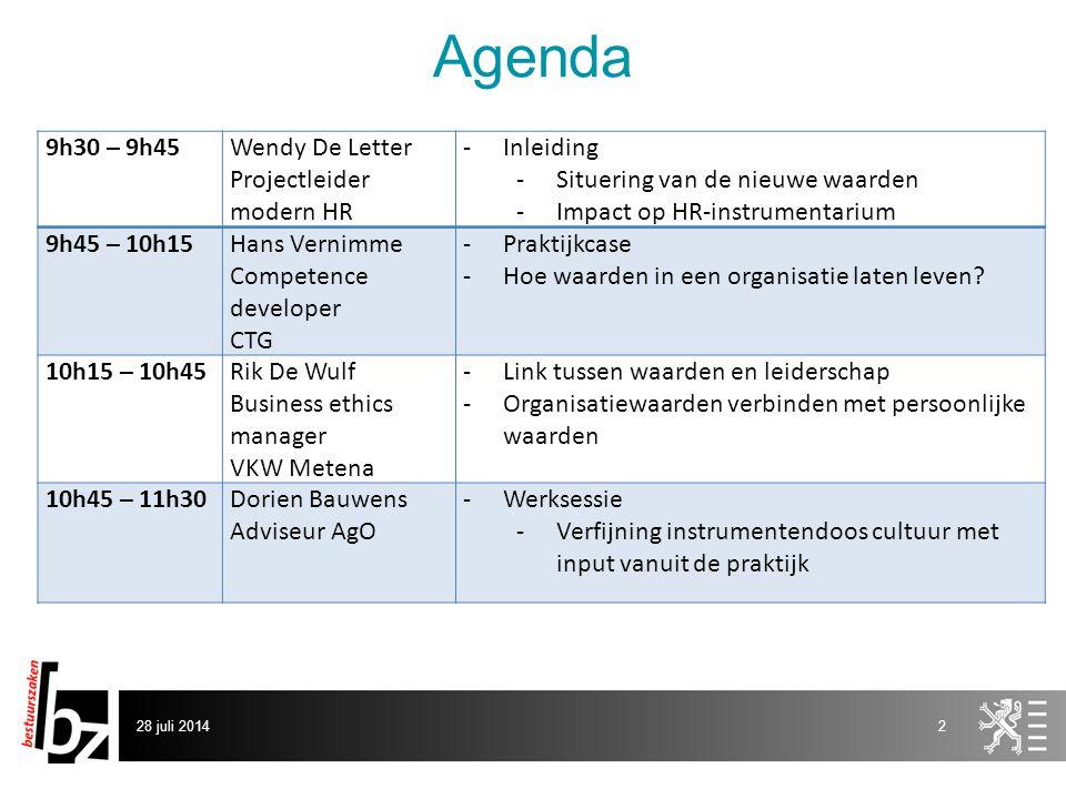 Agenda 28 juli 20142 9h30 – 9h45Wendy De Letter Projectleider modern HR -Inleiding -Situering van de nieuwe waarden -Impact op HR-instrumentarium 9h45