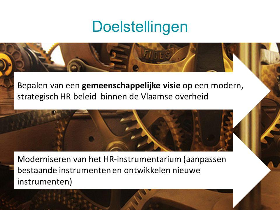 Doelstellingen 28 juli 20145 Bepalen van een gemeenschappelijke visie op een modern, strategisch HR beleid binnen de Vlaamse overheid Moderniseren van