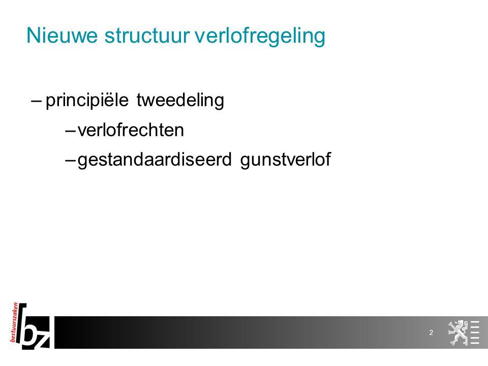 2 –principiële tweedeling –verlofrechten –gestandaardiseerd gunstverlof Nieuwe structuur verlofregeling