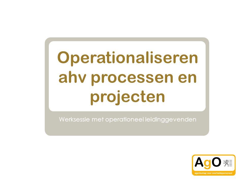 Operationaliseren ahv processen en projecten Werksessie met operationeel leidinggevenden