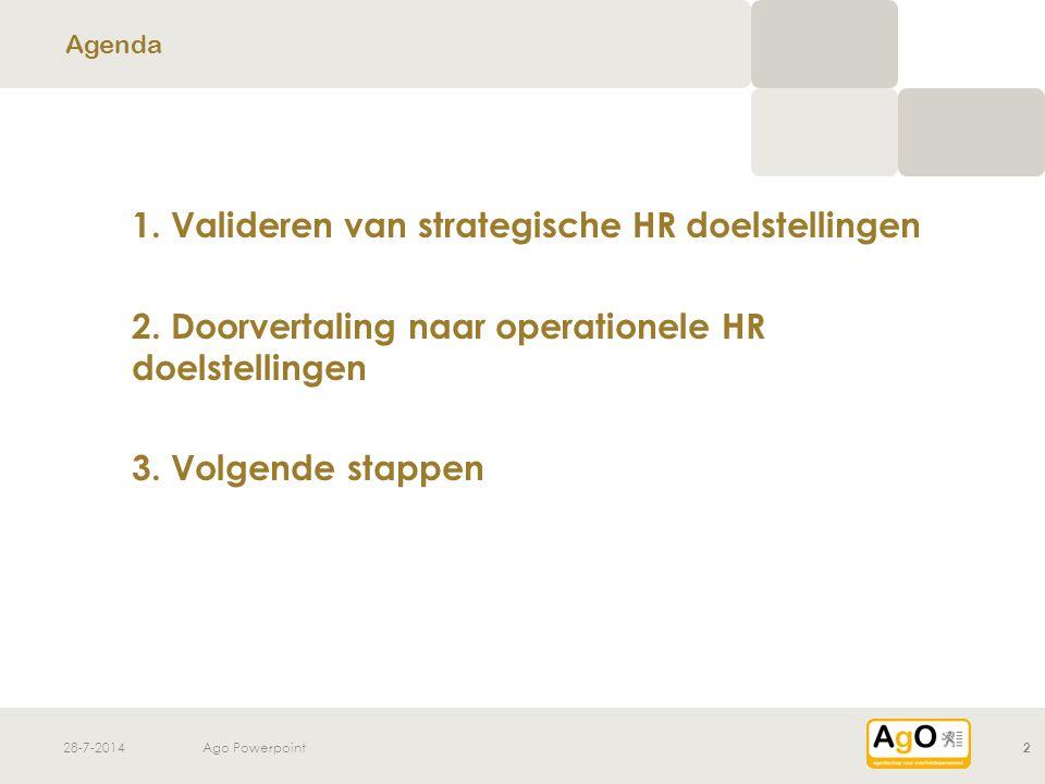 28-7-2014Ago Powerpoint3 SD1 SD2 SDX 1. Toelichten strategische HR doelstellingen