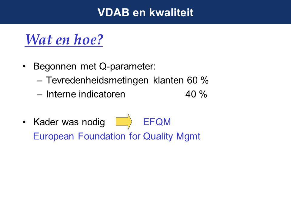 VDAB en kwaliteit Kwaliteitsdienst sinds 1999 Hoort bij Strategische Dienst Beleidsondersteuning Centraal: 1 QMgr + 4 experten + 1 bediende Regionaal: min.