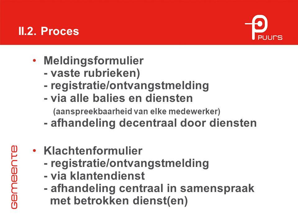 II.2. Proces Meldingsformulier - vaste rubrieken) - registratie/ontvangstmelding - via alle balies en diensten (aanspreekbaarheid van elke medewerker)
