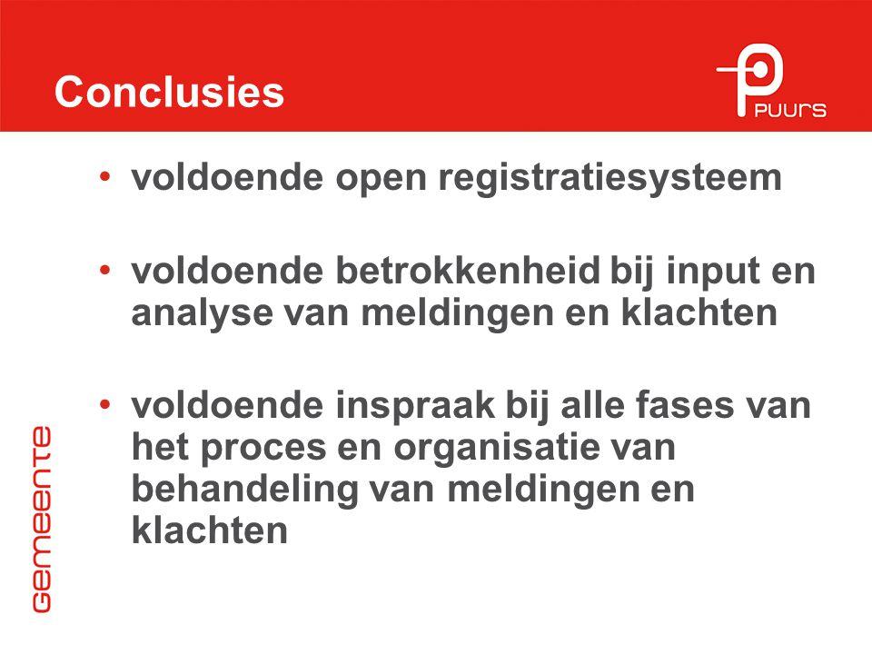 Conclusies voldoende open registratiesysteem voldoende betrokkenheid bij input en analyse van meldingen en klachten voldoende inspraak bij alle fases