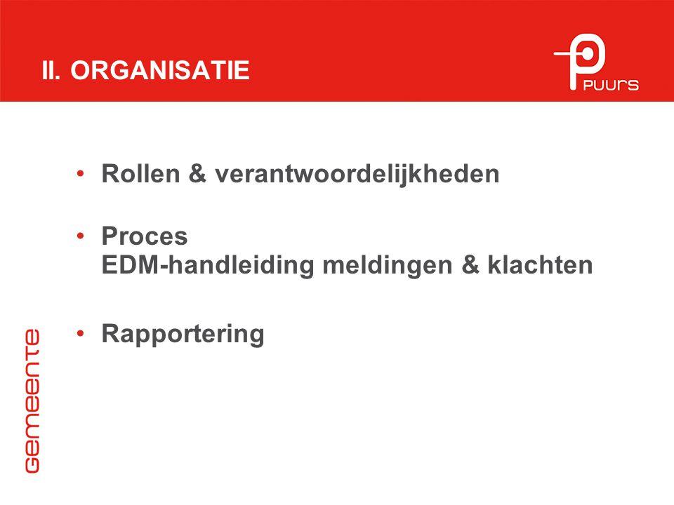 II. ORGANISATIE Rollen & verantwoordelijkheden Proces EDM-handleiding meldingen & klachten Rapportering