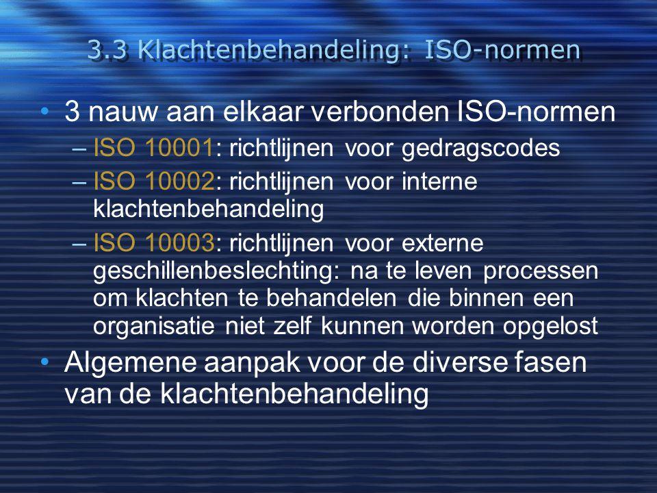 3.3 Klachtenbehandeling: ISO-normen 3 nauw aan elkaar verbonden ISO-normen –ISO 10001: richtlijnen voor gedragscodes –ISO 10002: richtlijnen voor inte