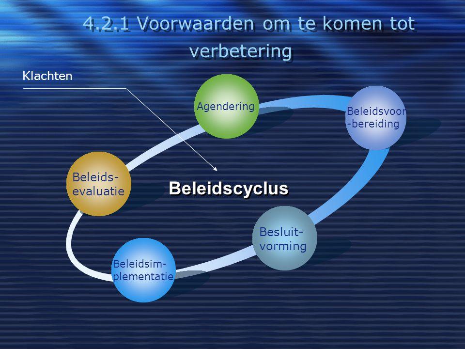 4.2.1 Voorwaarden om te komen tot verbetering Beleids- evaluatie Agendering Beleidsvoor -bereiding Besluit- vorming Beleidsim- plementatie Beleidscycl