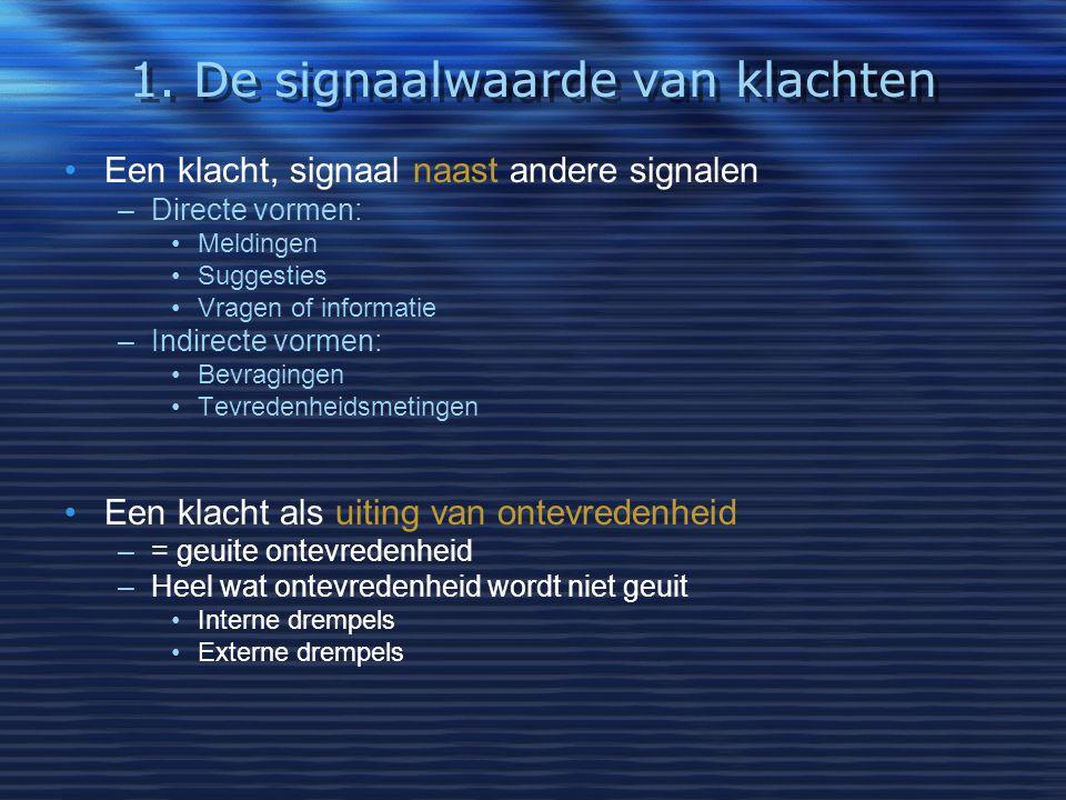 Een klacht, signaal naast andere signalen –Directe vormen: Meldingen Suggesties Vragen of informatie –Indirecte vormen: Bevragingen Tevredenheidsmetin