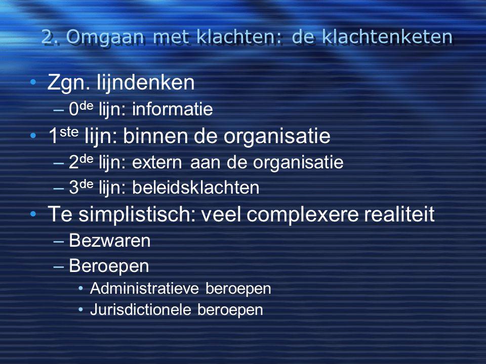 2. Omgaan met klachten: de klachtenketen Zgn. lijndenken –0 de lijn: informatie 1 ste lijn: binnen de organisatie –2 de lijn: extern aan de organisati