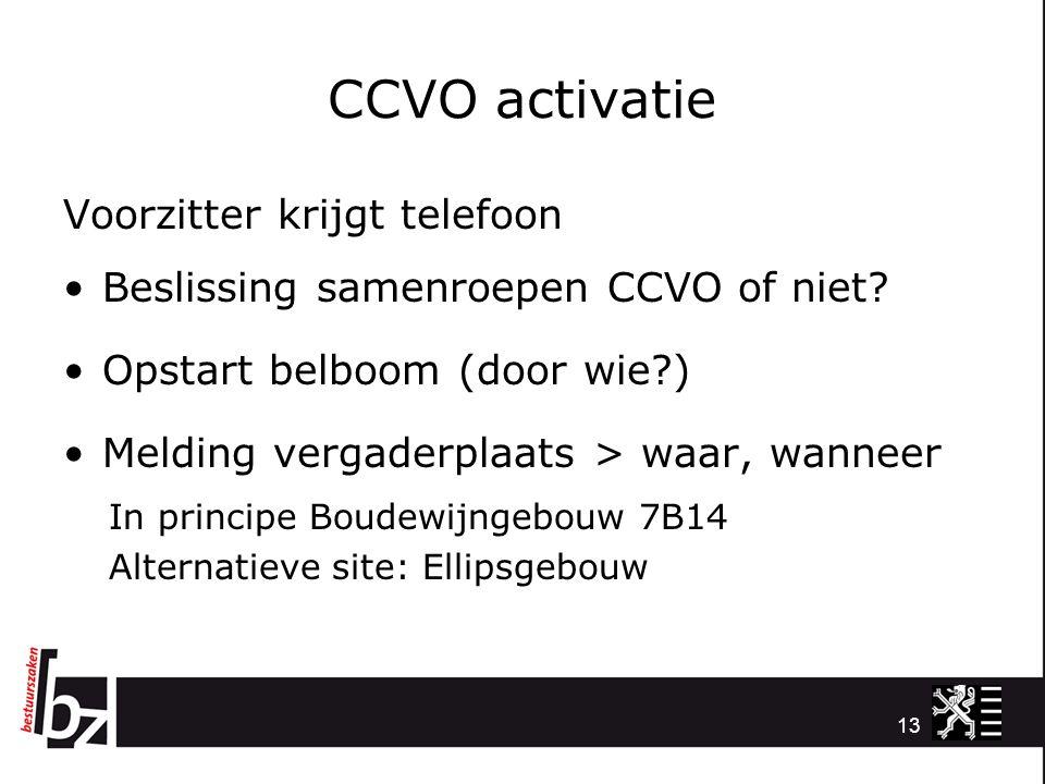 CCVO activatie Voorzitter krijgt telefoon Beslissing samenroepen CCVO of niet? Opstart belboom (door wie?) Melding vergaderplaats > waar, wanneer In p