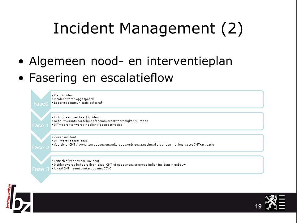 Incident Management (2) Algemeen nood- en interventieplan Fasering en escalatieflow 19 Fase0 Klein incident Incident wordt opgespoord Beperkte communi