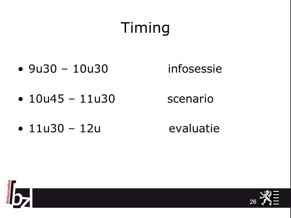 Timing 9u30 – 10u30 infosessie 10u45 – 11u30 scenario 11u30 – 12u evaluatie 26