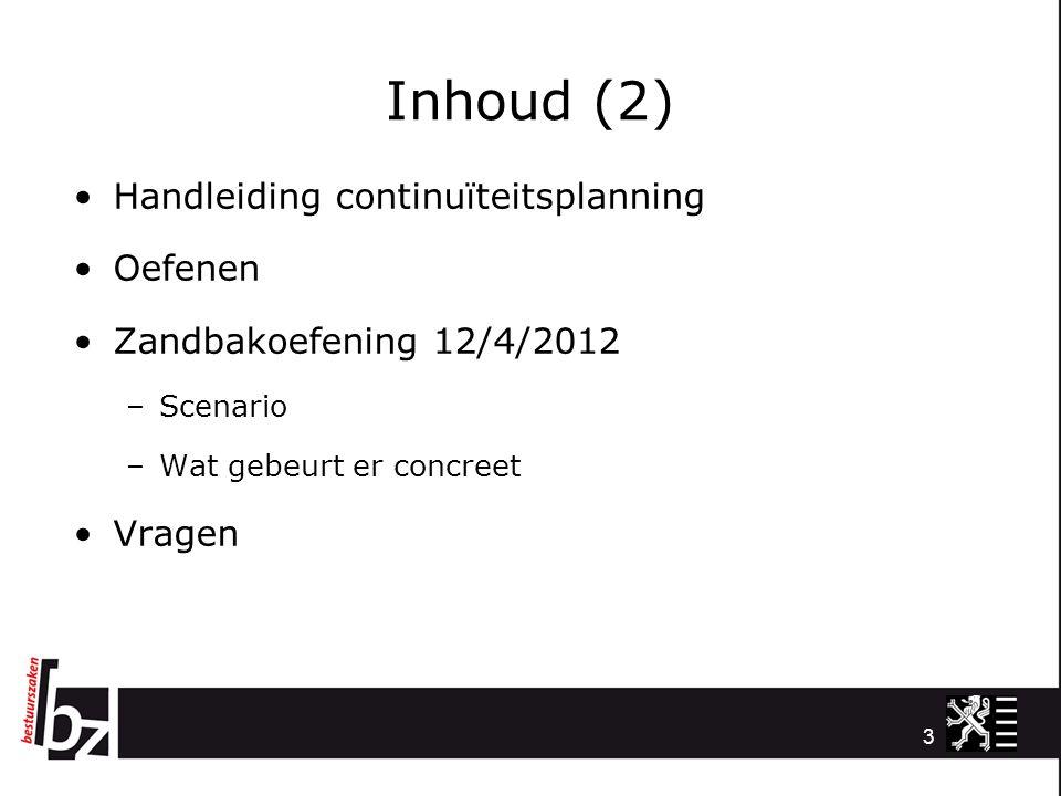 3 Inhoud (2) Handleiding continuïteitsplanning Oefenen Zandbakoefening 12/4/2012 –Scenario –Wat gebeurt er concreet Vragen