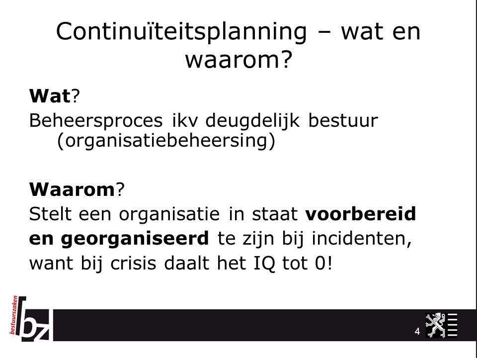 Continuïteitsplanning – wat en waarom? Wat? Beheersproces ikv deugdelijk bestuur (organisatiebeheersing) Waarom? Stelt een organisatie in staat voorbe
