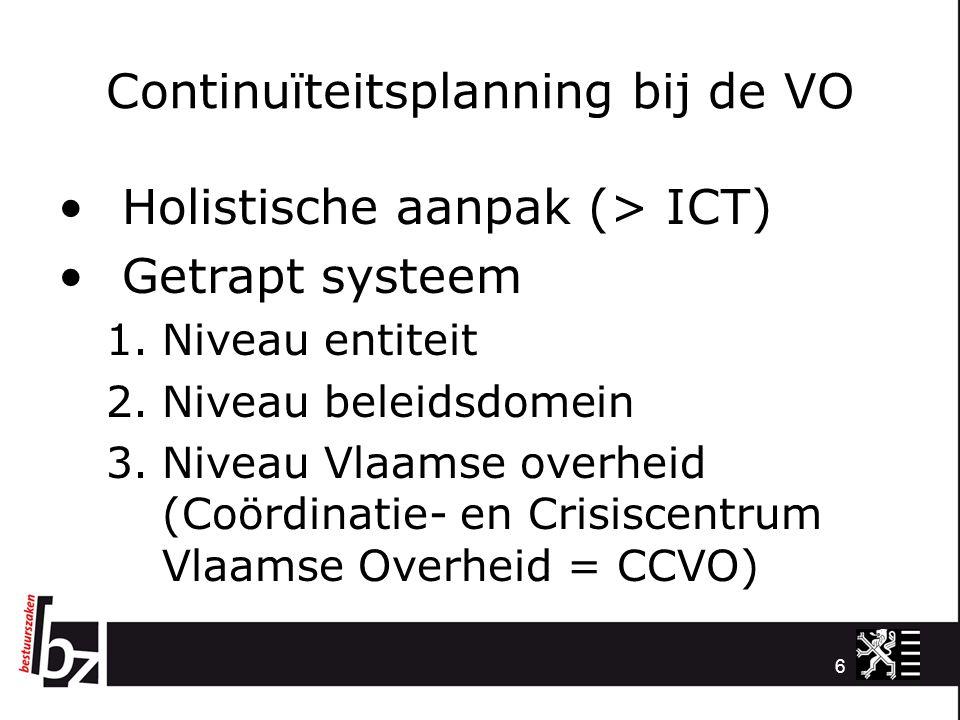 Continuïteitsplanning bij de VO Holistische aanpak (> ICT) Getrapt systeem 1.Niveau entiteit 2.Niveau beleidsdomein 3.Niveau Vlaamse overheid (Coördin