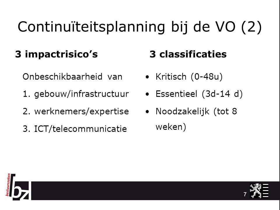 Continuïteitsplanning bij de VO (2) 3 impactrisico's Onbeschikbaarheid van 1. gebouw/infrastructuur 2. werknemers/expertise 3. ICT/telecommunicatie 3