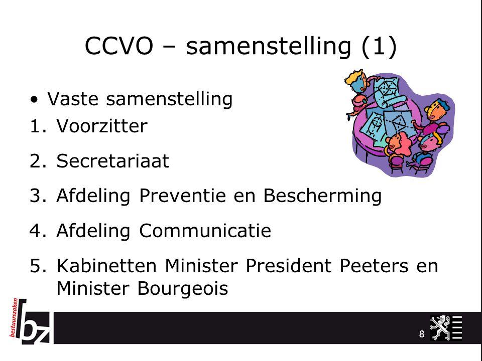 CCVO – samenstelling (2) Aanvullend afhankelijk van het incident 1.Vertegenwoordiger luik Facility (AFM); 2.Vertegenwoordiger luik ICT (e-IB); 3.Vertegenwoordiger AWV; 4.Vertegenwoordiger AZG; 5.Adviseurs 9
