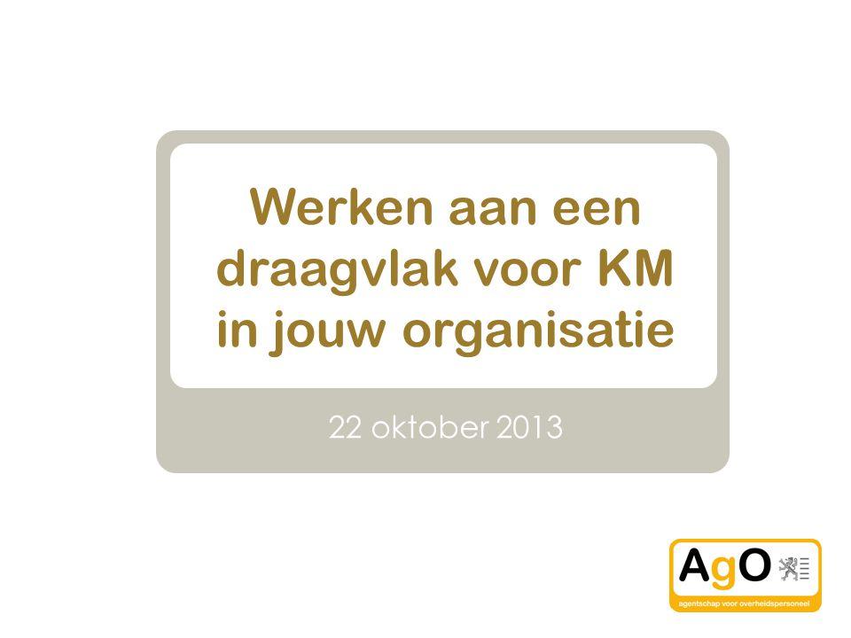 Werken aan een draagvlak voor KM in jouw organisatie 22 oktober 2013