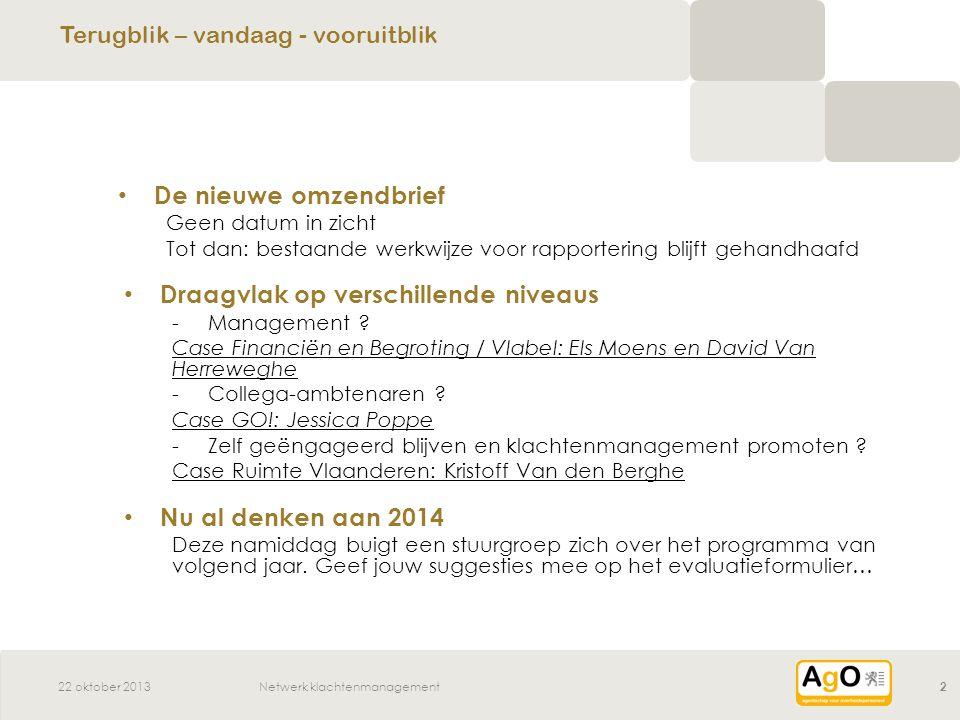 Netwerk klachtenmanagement2 De nieuwe omzendbrief Geen datum in zicht Tot dan: bestaande werkwijze voor rapportering blijft gehandhaafd Draagvlak op verschillende niveaus -Management .