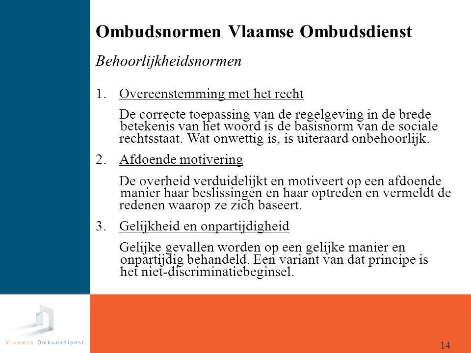 Ombudsnormen Vlaamse Ombudsdienst Behoorlijkheidsnormen 1. Overeenstemming met het recht De correcte toepassing van de regelgeving in de brede beteken