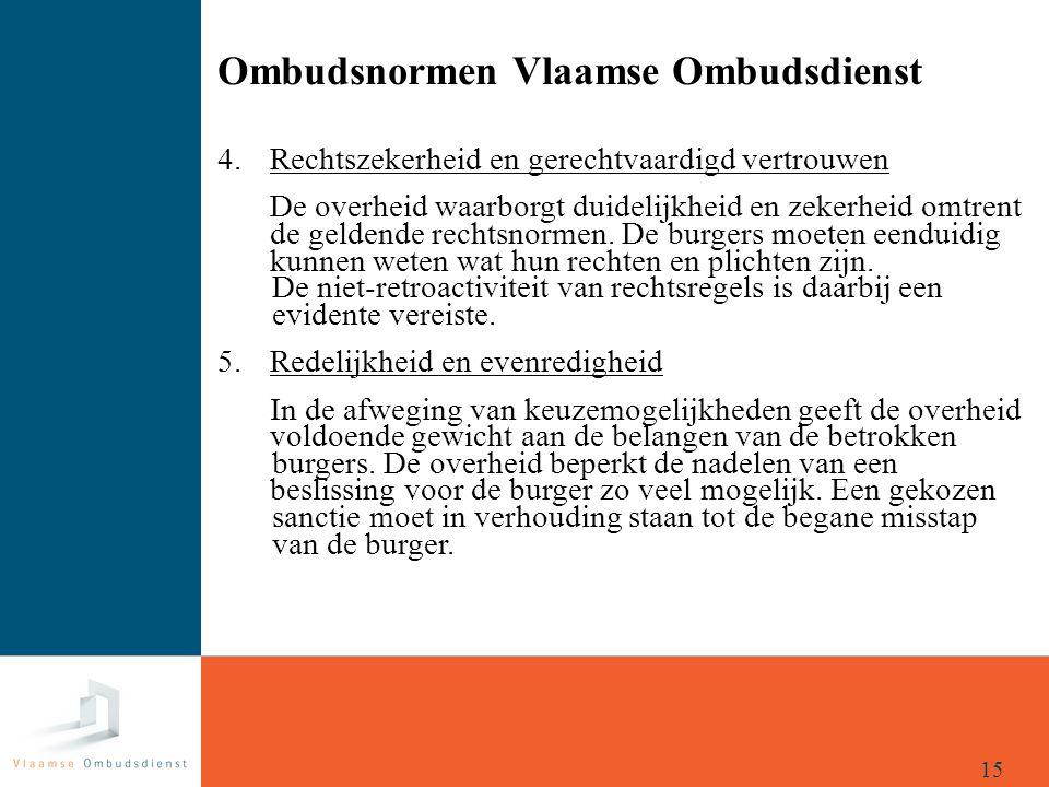 Ombudsnormen Vlaamse Ombudsdienst 4. Rechtszekerheid en gerechtvaardigd vertrouwen De overheid waarborgt duidelijkheid en zekerheid omtrent de geldend