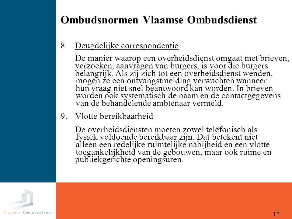 Ombudsnormen Vlaamse Ombudsdienst 8. Deugdelijke correspondentie De manier waarop een overheidsdienst omgaat met brieven, verzoeken, aanvragen van bur