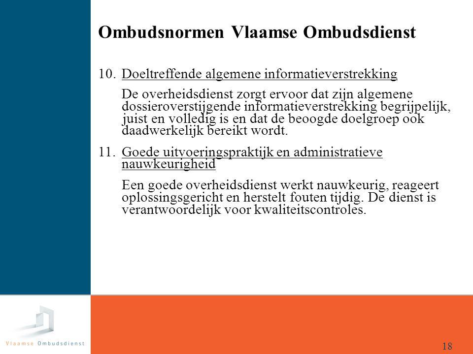 Ombudsnormen Vlaamse Ombudsdienst 10. Doeltreffende algemene informatieverstrekking De overheidsdienst zorgt ervoor dat zijn algemene dossieroverstijg