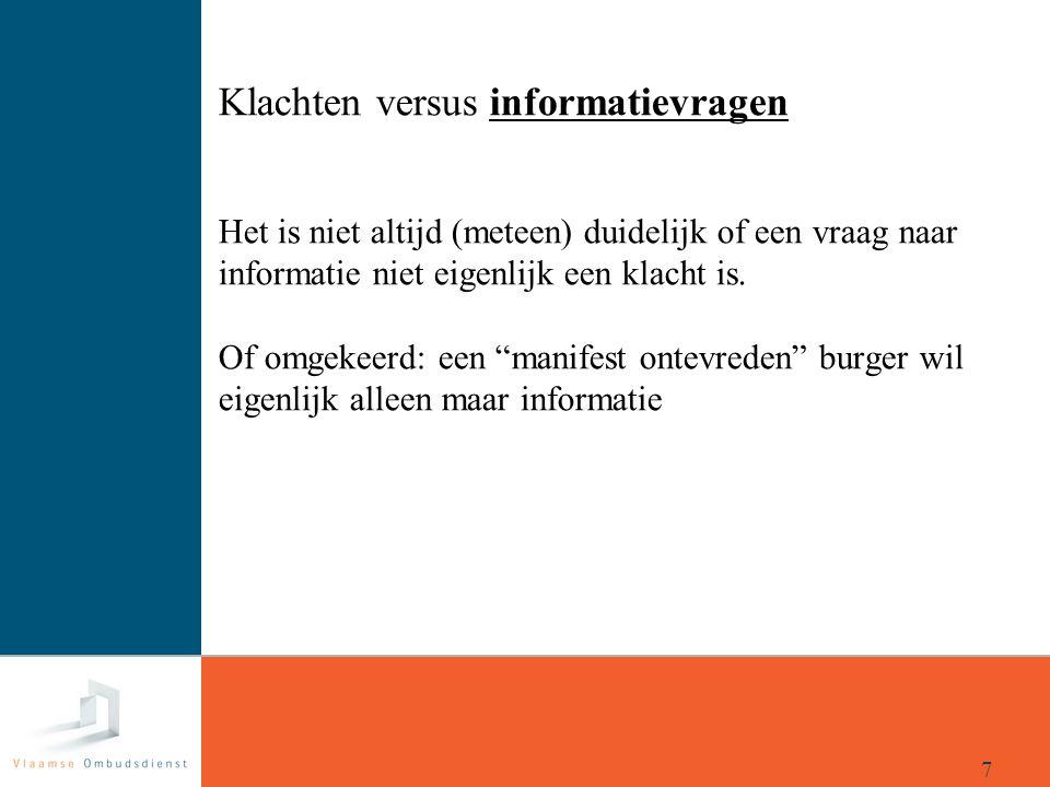 """Klachten versus informatievragen Het is niet altijd (meteen) duidelijk of een vraag naar informatie niet eigenlijk een klacht is. Of omgekeerd: een """"m"""