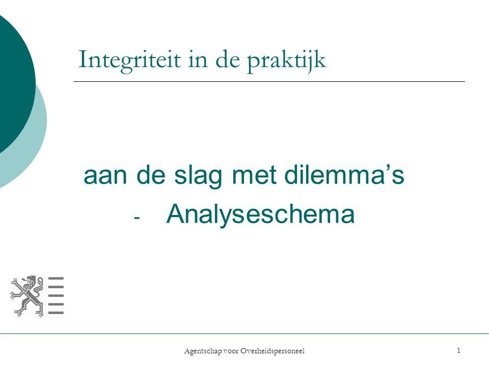 Agentschap voor Overheidspersoneel 1 Integriteit in de praktijk aan de slag met dilemma's - Analyseschema