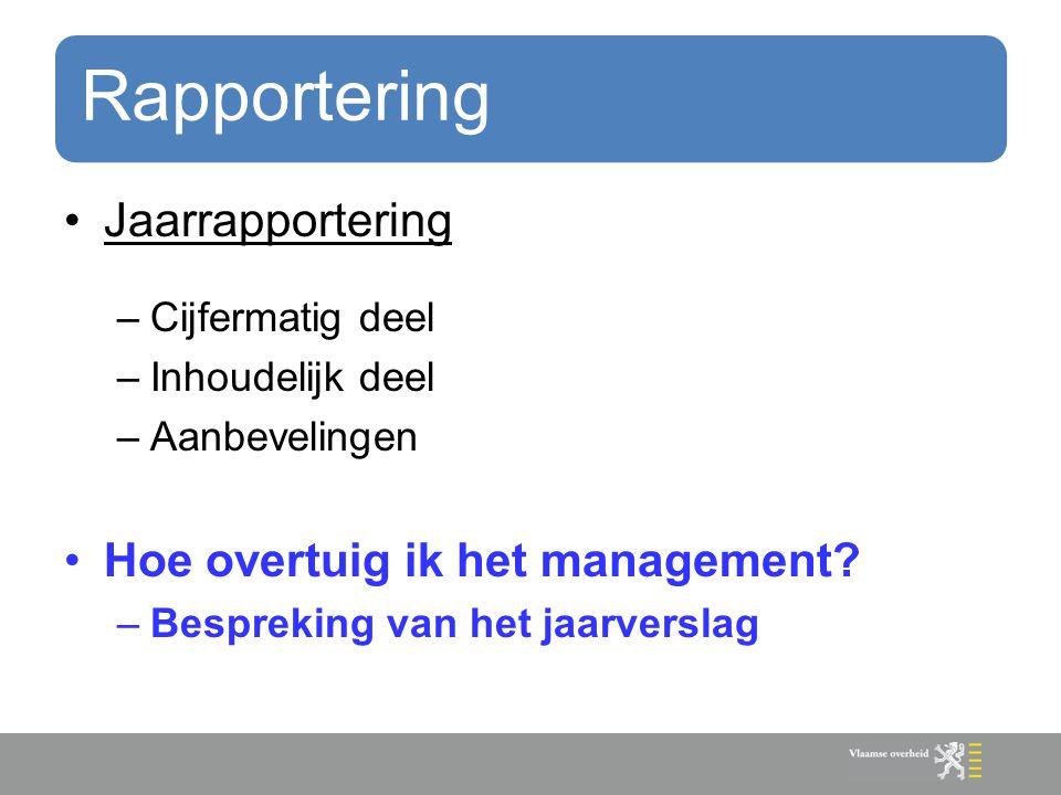Rapportering Jaarrapportering –Cijfermatig deel –Inhoudelijk deel –Aanbevelingen Hoe overtuig ik het management? –Bespreking van het jaarverslag