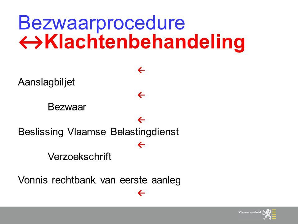 Bezwaarprocedure ↔ Klachtenbehandeling ← Aanslagbiljet ← Bezwaar ← Beslissing Vlaamse Belastingdienst ← Verzoekschrift Vonnis rechtbank van eerste aan